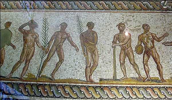 Ancient Greek mosaics in Greece, Ancient sports, Archaeological Museum of Olympia file by Tkoletsis